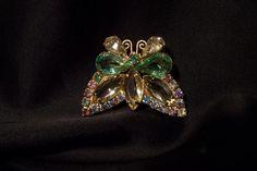 Vintage Brooch Rhinestone Butterfly Citrine by JewelsAndMyGirls3, $22.00