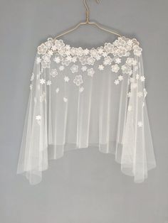 Brides laced floral wedding bridal cape