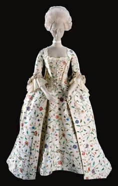 Robe a la francaise of Chinese painted silk ca. 1755 From Colonial Williamsburg