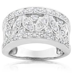 Annello 14k White Gold 1/2ct TDW Diamond Floral Anniversary Ring (H-I, I1-I2) | Overstock™ Shopping - Top Rated Annello Diamond Rings