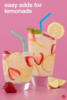 Amped Up Lemonade Recipe : Target Recipes Fruit Drinks, Smoothie Drinks, Non Alcoholic Drinks, Party Drinks, Healthy Drinks, Healthy Eating, Healthy Recipes, Summertime Drinks, Summer Drinks