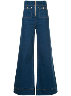 Alice Mccall Bluesy High-rise Wide-leg Jeans In Dark Denim Mode Outfits, Jean Outfits, Fall Outfits, Fashion Outfits, Fashion Trends, All Jeans, Wide Leg Jeans, Women's Jeans, 70s Inspired Outfits