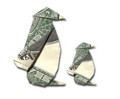 Origami Penguin with a US dollar bill Origami And Kirigami, Origami Folding, Origami Paper, Origami Boxes, Paper Folding, Origami Penguin, Origami Animals, Origami Elephant, Origami Design