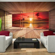 Photo Wallpaper GIANT BEACH SUNSET WINDOW EFFECT Wall Mural (3301VE)