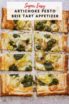 This Artichoke Pesto Brie Tart is so easy to make and will impress any of your family and friends. Make this for a dinner party or just as a date night in, either way it is perfect! #pesto #dinner #appetizer #artichokepesto Easy Appetizer Recipes, Healthy Recipes, Yummy Recipes, Healthy Appetizers, Healthy Meals, Pesto Tortellini Salad, Homemade Pesto, How To Make Pizza