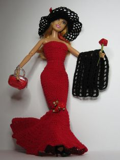 Crocheted Barbie Dress, Red Dress with black shawl, Barbie doll, crochet dress and shoes.