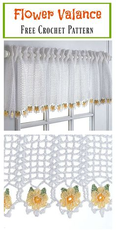 Flower Valance Window Curtain Free Crochet Pattern #freecrochetpatterns #homedecor