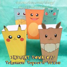 Pokemon Inspired Popcorn Boxes - Instant Download - Printable - Gift Box Party Favor Pikachu Eevee Charmander Squirtle Bulbasaur Kawaii Cute