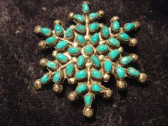 Antique Old Pawn Zuni Turqouise Petit Point Needlepoint Silver Snowflake Brooch… Vintage Turquoise, Coral Turquoise, Turquoise Jewelry, Zuni Jewelry, Silver Jewelry, Jewellery, Native American Jewelry, Native American Indians, Needlepoint