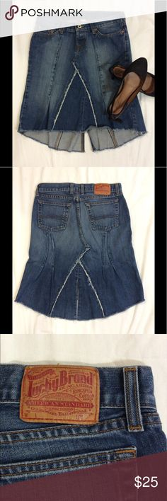 """Lucky Brand High/low Skirt What a different denim skirt. It's definitely not the plain and ordinary. A great patchwork pattern. Slit in the back. Distressed and manufactured with fraying. The """"Rosey skirt"""" by Gene Montesano. Lucky Brand Skirts High Low"""