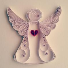 Description / Features: Size: 20x20 cm in frame, frame color black, white, white Colors: white Material: colored paper, deep frame Angel design is handmade from quality colored paper strips. The paper height is 1 cm. It is sent in 20x20 cm deep frame. Black frame white frame is