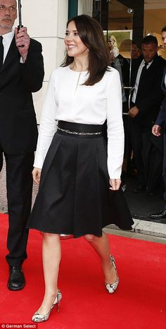 Black-and-white: The princess showed her chic approach to style at the ECCO store opening in Munich, Germany in May