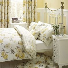 Stylish and contemporary duvet covers available from Dunelm. Our bed linen range includes a variety of colours and patterns, all made with high quality material and in every size, from single to king size duvet covers. Mustard Bedding, Yellow Bedding, Linen Bedding, Bed Linens, Yellow Bedrooms, Bedroom Green, White Bedroom, Comforter, Master Bedroom