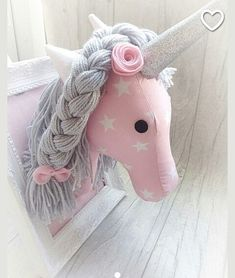 Check out our mounted unicorn head selection for the very best in unique or custom, handmade pieces from our wall décor shops. Unicorn Pillow, Unicorn Head, Unicorn Birthday Parties, Unicorn Party, Felt Crafts, Diy And Crafts, Sewing Crafts, Sewing Projects, Stick Horses
