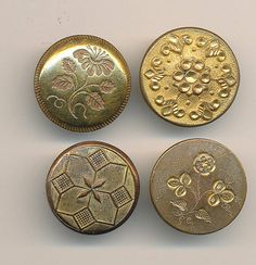 4 Antique Golden Age Gilt Buttons ca.1840's Lot 2 by AnnieFrazier