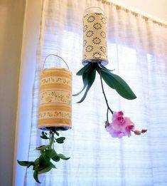 diy project: recycled upside down planters – Design*Sponge Diy Hanging Planter, Diy Planters, Planter Ideas, Garden Planters, Balcony Garden, Terrace, Recycle Cans, Recycling, Upside Down Plants