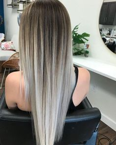 Cool-Toned brown and silver blonde balayage. pretty ombre balayage hairstyle for long hair, 2019 long hair color and haircuts Balayage Hair Blonde, Brown Blonde Hair, Platinum Blonde Hair, Balayage Hairstyle, Ombre Balayage, Silver Blonde, Haircolor, Balayage Straight Hair, Blonde Honey