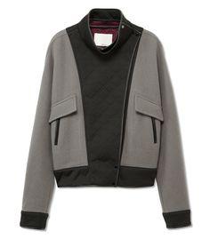 Varsity Cool at #ShopBAZAAR: 3.1 Phillip Lim Black and Gray Bomber Jacket