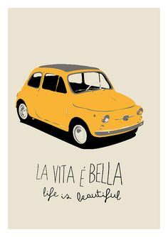Digital Print Fiat 500 poster illustration by ShufflePrints