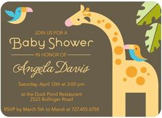 Baby Shower Invitations Zoo Pals - Front : Cream $1.29 each