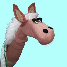 Handmade Horse Donkey Pony Sock Puppet by SockHollow on Etsy Puppet Toys, Sock Puppets, Marionette, Puppet Patterns, Egg Carton Crafts, Brown Horse, Horse Crafts, Sock Animals, Animal Pillows