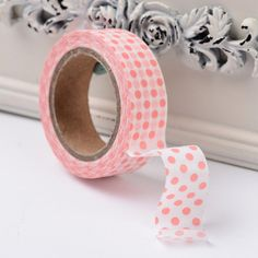 Washi Tape x 10 metre roll Japanese Paper Masking Tape White with pink dots Diy Scrapbook, Scrapbook Supplies, Handmade Wooden, Handmade Gifts, Rug Hooking Patterns, Masking Tape, Washi Tapes, Japanese Paper, Tape Crafts