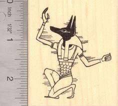 Anubis, Jackal headed Egyptian God Rubber Stamp K13704 Wood Mounted