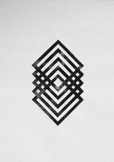 "graphic design ""linocut"" with square frames in black colors on grey background – looks like a lantern | Daniel de Batte |"