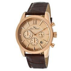 Lucien Piccard Men's 12356-RG-09 Mulhacen Chronograph Rose Gold Tone Textured Dial Brown Leather Watch *** Read more at the image link.