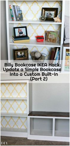 Billy Bookcase IKEA Hack: Update a Simple Bookcase Into a Custom Built-In (Part , This is part two of this gorgeous IKEA Billy Bookcase hack! This tutorial teaches you how to build the bench to go alongside the bookcase. Interior Design Ikea, Contemporary Interior Design, Ikea Hacks, Home Building Kits, Ikea Billy Bookcase Hack, Billy Bookcases, Ikea Kids Room, Ikea Tv, Tv Storage