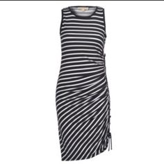 Nwot Michael Kors Striped Ruched Dress. Sz Xs