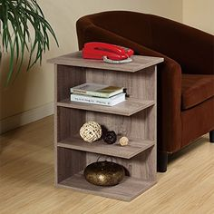 Magazine Rack Chairside End Table Rustic Grey Oak By Home Concept  Set Newspapers Coffee or Books on this classic Design Perfect for Living Rooms or Reading Nooks Small Grey 11451RG *** Details can be found by clicking on the image. #HomeDecorforsmallspaces