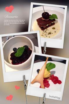 Chocolate cake with custard, blueberry panacotta, Eiffel fruit with sorbet