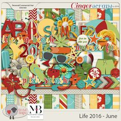 Life 2016 - June Collab with Melissa Bennett   summer Digital Scrapbook Kit Luv Ewe Designs