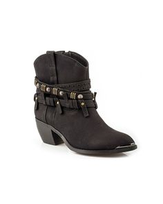 Roper Women's Studded Shorty Boot - Black  http://www.countryoutfitter.com/products/90521-womens-studded-shorty-boot-black