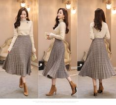 Check print long pleated skirt fashionable work outfit ideas for fall winter 2020 Long Skirt Fashion, Long Skirt Outfits, Korean Fashion Dress, Korean Dress, Fall Fashion Outfits, Modest Outfits, Classy Outfits, Modest Fashion, Look Fashion