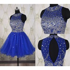 Sparkling Royal Blue Short Homecoming Dress With Full Beaded Top (£81) ❤ liked on Polyvore featuring dresses, grey, women's clothing, royal blue prom dresses, mini dress, short cocktail dresses, gray cocktail dress y royal blue dress