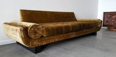 Mid-Century Sleigh Leg Gondola Sofa in the Manner of James Mont | From a unique collection of antique and modern sofas at https://www.1stdibs.com/furniture/seating/sofas/