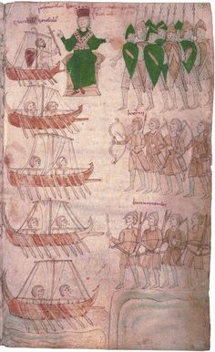 Liber ad honorem Augusti by Pietro da Eboli, c.1197. The army and the fleet of the Emperor Henry VI to conquer the kingdom of Sicily.