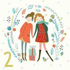 Joyful day with your Friend Day2 #illo_Advent, Illustration by Szonja Kiss #illo_Advent2016, #christmasartcountdown, #christmascountdown, #adventcalendar, #illustratedadvent, #adventillustrated, #adventillustration, #itsAdvent, #adventcalendarart, #christmasart, #christmasillustration