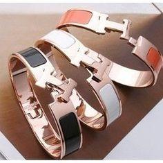 Hermes enamel Rose gold hardware Women's H Bracelet