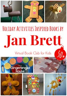 50+ Holiday Activities inspired by Books by Jan Brett.  Virtual Book club for Kids hosted by The Educators' Spin On It