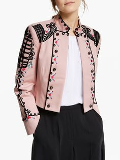 Buy Somerset by Alice Temperley Embroidered Military Jacket, Pink from our Women's Coats & Jackets range at John Lewis & Partners. Military Jacket Women, Military Fashion, Military Style, High Fashion Outfits, Edgy Outfits, Coats For Women, Jackets For Women, Clothes For Women, John Lewis