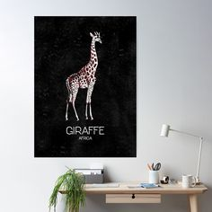 'Giraffe Africa Minimalistic ' Poster by EddieBalevo Framed Prints, Canvas Prints, Art Prints, Laptop Cases, Phone Cases, African Jungle Animals, Wall Tapestries, Tapestry, Throw Blankets