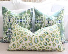 Lacefield bombay // green and blue // ikat pillow // green pillow // chinoiserie pillow // green pillow // blue pillow : lacefield bombay // green and blue // ikat pillow // green Green Pillows, Ikat Pillows, Toss Pillows, Cushions, Burlap Pillows, Floral Pillows, Blue Green, Blue And White, House On The Rock