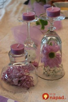 DIY Wine Glass Candle Holders for Weddings wine glass candle holder with pretty pink candles Bridal Shower Decorations, Wedding Centerpieces, Wedding Decorations, Table Decorations, Wedding Table, Diy Wedding Theme, Table Centerpieces, Birthday Decorations, Bougie Rose