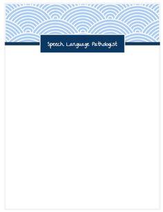 Speech Therapist Printable Notepad - scallop design Speech And Language, Printables, Design, Languages, Design Comics, Printable Templates