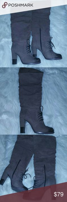 "Gorgeous Tall Knee High Boots Go over my knee i can model later very nice condition except some stains on the suede sadly, i havent tried to get them out though about a 4"" heelI think charley  leather upper, manmade sole fit like a 7.5 or 8 but say theyre size 39 which is way off bc theyre not a 9  I'm happy to get you better pics in day light soon. Please ask me anything ♡ I'm here to help!! charley Shoes Heeled Boots"