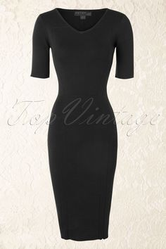 Fever - 50s Genoa Knitted Pencil Dress Black