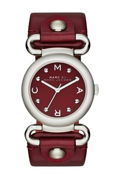 Buy Marc By Marc Jacobs Womens Molly Cabernet Red Leather Strap Watch Similar products also available. Handbag Accessories, Jewelry Accessories, Fashion Accessories, Women Jewelry, Marc Jacobs, Cranberry Color, Cool Watches, Women's Watches, Fashion Watches